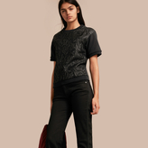 Burberry Short-sleeved Jacquard-front Cotton Blend Sweatshirt