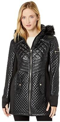 MICHAEL Michael Kors Active Quilt with Knit A420823TZ (Black) Women's Coat