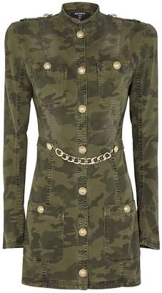 Balmain Camouflage-print Denim Mini Dress