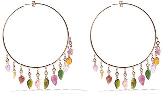 Jacquie Aiche 14kt rose gold Rainbow Tourmaline Leaf Shaker hoops
