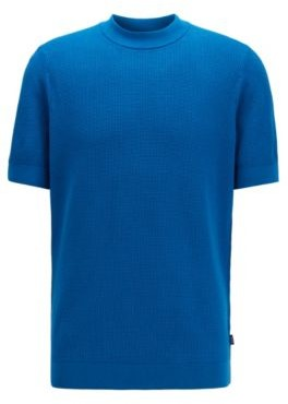 HUGO BOSS Short-sleeved knitted sweater in structured cotton