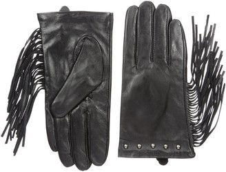 La Fiorentina Women's Leather Studded Glove with Long Side Fringes