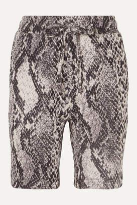 Twenty Montréal TWENTY Montreal - Strike Cropped Cotton-blend Snake-jacquard Shorts - Snake print