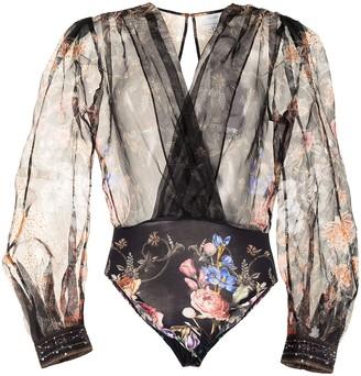 Camilla Floral-Print Semi-Sheer Bodysuit
