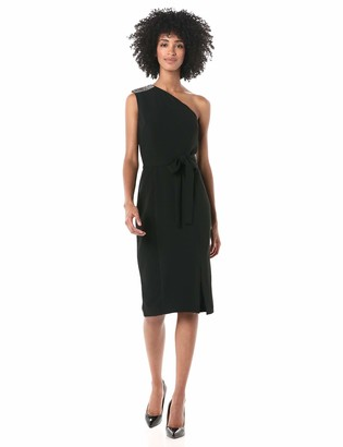 Donna Morgan Women's Stretch Crepe One Shoulder Bodycon Slit Dress