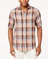 Tasso Elba Men's Linen-Blend Plaid Shirt, Created for Macy's