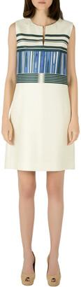 Tory Burch Indigo Plaited Engineered Stripe Cotton Silk Mikado Dress S