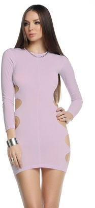 Forplay BLVD Collection by Women's Paige Long Sleeve Bodycon Dress with Circle Side Panel Cutouts