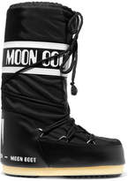 Moon Boot Shell-piqué And Faux Leather Snow Boots - Black