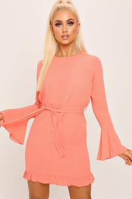 I SAW IT FIRST Coral Flute Sleeve Frill Hem Mini Dress