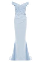 Quiz Pale Blue Bardot Lace Maxi Dress