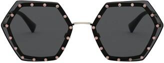 Valentino Crystal-Studded Hexagon Sunglasses