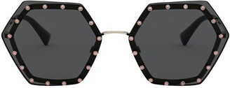 Valentino Garavani Crystal-Studded Hexagon Sunglasses