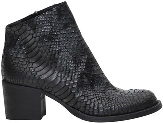 Strategia Python Printed Leather Booties