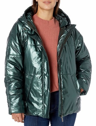 Vince Camuto Women's Muted Metallic Hooded Puffer Jacket