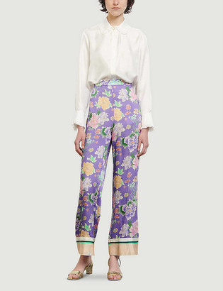 Sandro Jalyn wide floral-print satin trousers