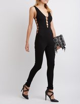 Charlotte Russe Caged Plunging Jumpsuit