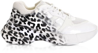 Pinko Rubino Animal Printed Leather Black & White Women's Sneakers