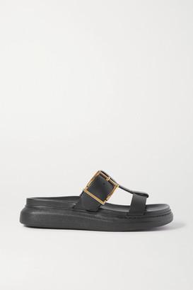 Alexander McQueen Buckled Leather Platform Slides - Black