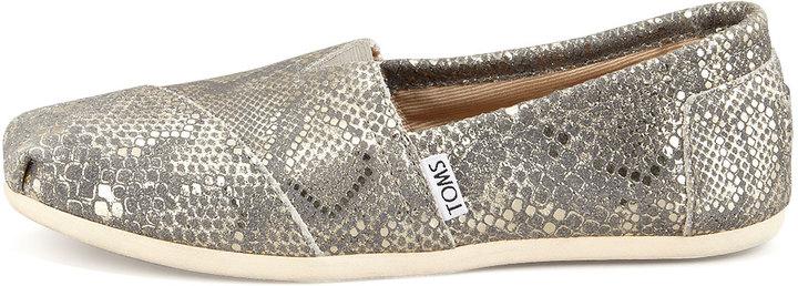 Toms Metallic Snake-Print Leather Slip-On, Gold Multi