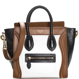 Celine Brown, Black, & White Leather Nano Luggage Tote