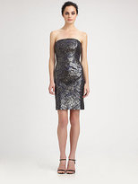 Monique Lhuillier Sequined Strapless Dress