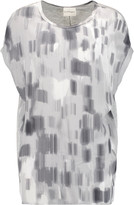 DKNY Printed crepe and stretch-jersey top