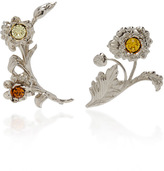 Rodarte Bright Nickel Floral Ear Cuffs