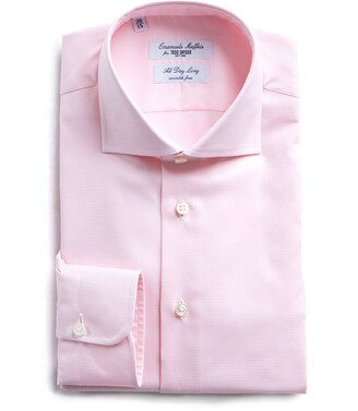 Emanuele Maffeis + Todd Snyder Maffeis No Wrinkle Dress Shirt Pink Nailhead Solid