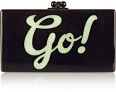Edie Parker Jean Go Glittered Acrylic Box Clutch - Black