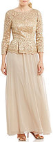 Decode 1.8 Embellished Lace Bodice Mock Two Piece Gown