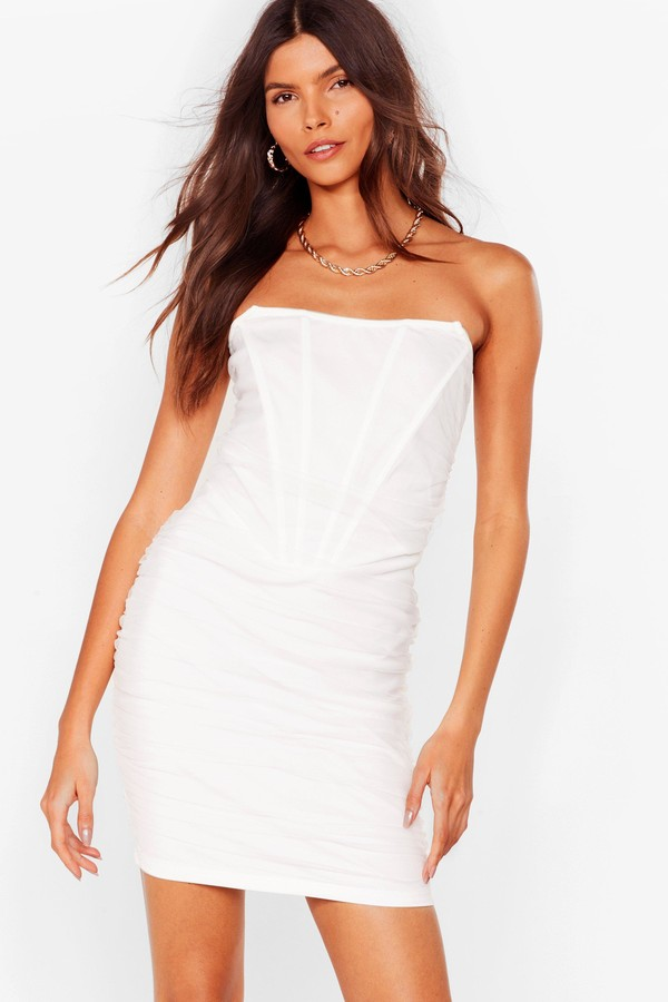 Thumbnail for your product : Nasty Gal Womens Mesh Bandeau Ruched Bodycon Dress - White - XS