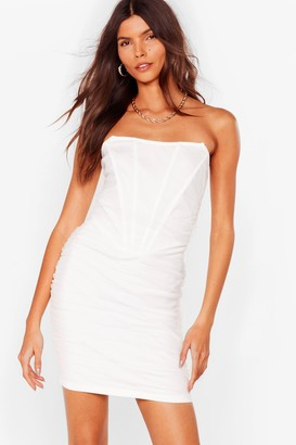 Nasty Gal Womens Mesh Bandeau Ruched Bodycon Dress - White - XS