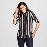 Mossimo Women's Convertible Sleeve Blouse Black & White Stripe