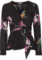 Etro Floral-print Silk Crepe De Chine Wrap Blouse - Black