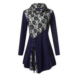 HOOUDO Women's High Collar Printed Straps Solid Lace Side with Strap Casual Patchwork Top Blouse (Medium