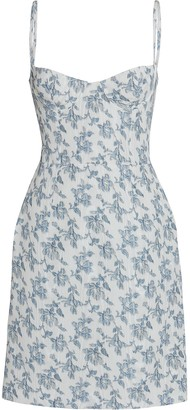 Brock Collection Floral Moire Bustier Dress