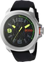 BOSS ORANGE Men's Quartz Stainless Steel and Silicone Automatic Watch, Color: (Model: 1513375)