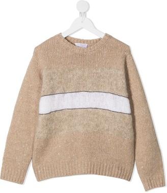 BRUNELLO CUCINELLI KIDS Stripe Long-Sleeve Jumper