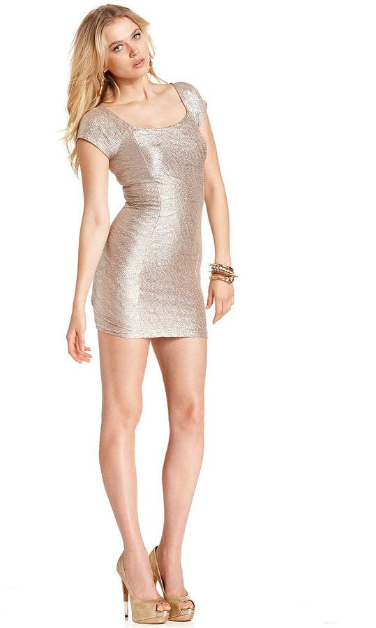 GUESS Dress, Short-Sleeve Scoop-Neck Metallic Mini