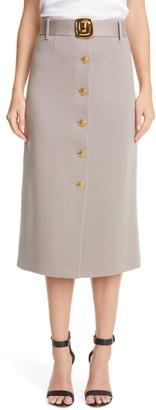 St. John Belted Ottoman Knit Wool Skirt