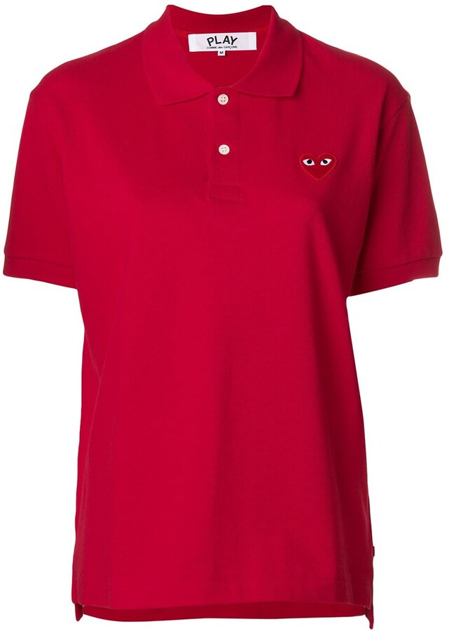 Comme des Garcons heart patched polo shirt