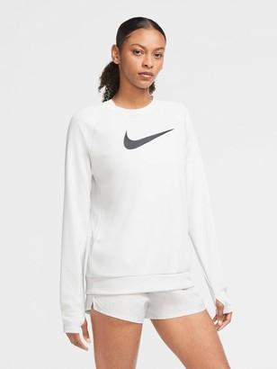 Nike Running Long Sleeve Swoosh Crew Top - Light Grey