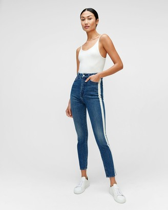 7 For All Mankind High Waist Skinny in Retro Broadway with Bleached Stripe
