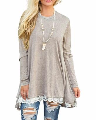 GIKING Women's Vintage Long Sleeve A-line Lace Tunic Loose T-shirt Dress Gray UK 14 = Size L