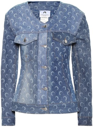 Marine Serre Printed recycled-cotton denim jacket