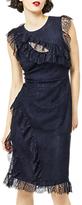Warehouse Eyelash Frill Dress, Navy