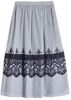 Steffen Schraut Striped Cotton Skirt with Embroidery