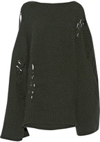 Chalayan Open-back Distressed Merino Wool And Cashmere-blend Sweater - Army green