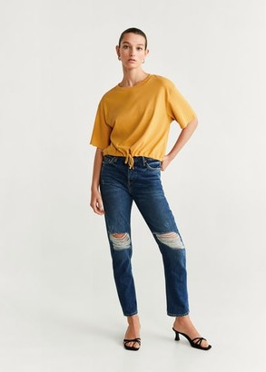 MANGO Adjustable cord T-shirt mustard - XS - Women
